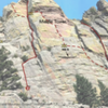 Panorama of Mickey Mouse Wall, with North, Middle, and South Towers, and a few routes for reference.
