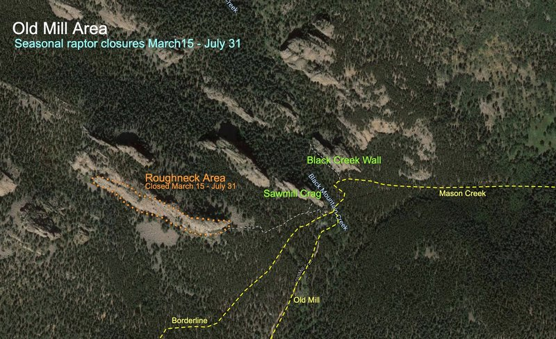 Seasonal Falcon closures in effect from March 15 - July 31.<br> - Lion's Head (not pictured).<br> - Roughneck Area.<br> <br> There are no closures at Staunton Rocks.