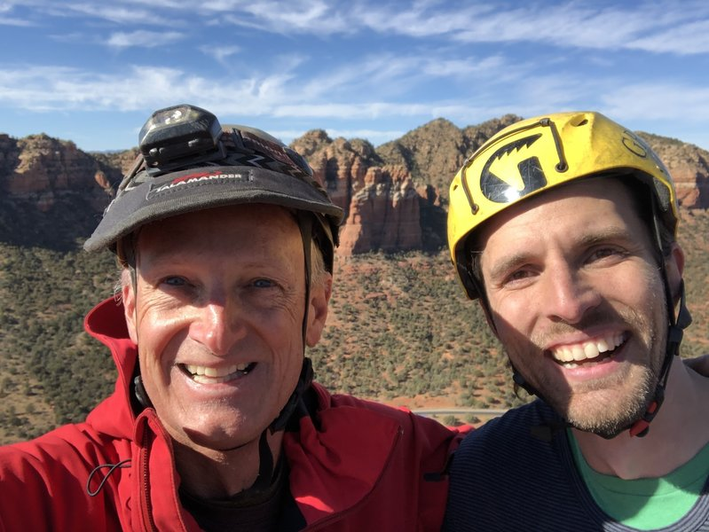 One old guy and an actual climber on top of Bell Rock.