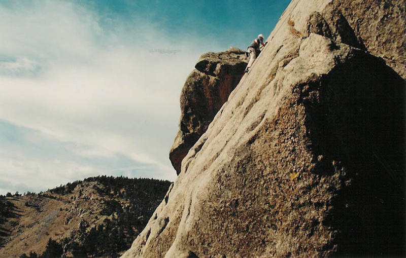 Allen on one of his first trad leads, climbing East Slab.