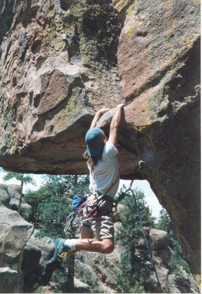 Jay V - climber; pic by Julie V.<br> Cutting loose.