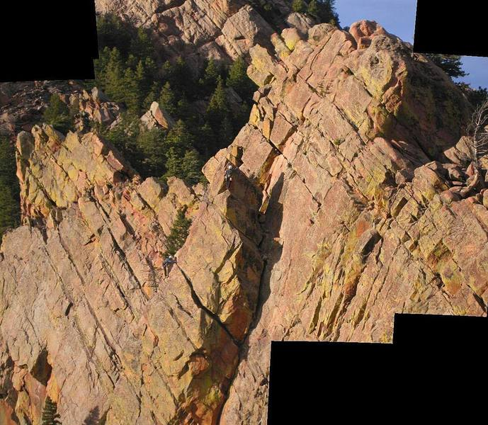 Unknown Climber approaches top of Rebuffat's Arete.  Photo: Mike Morley (from top of The Yellow Spur)