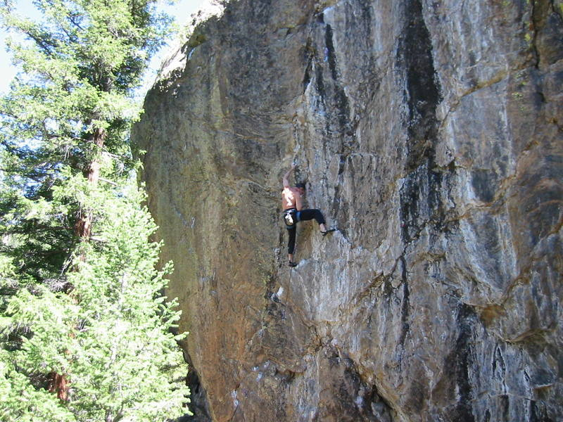 Haus Rock is by far the best this area has to offer.  This 5.12, Jim is almost flashing, is proof that Summit County should be famous for something besides really huge lift lines.
