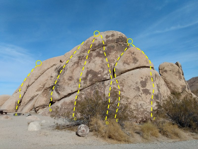 N00b Rock from the road, Joshua Tree NP<br> <br> A. Lovely Lady Lumps (5.6)<br> B. C*nt Crack (5.4)<br> C.  Hamms Down (5.7)<br> D. N00ber Goober (5.8)<br> E. Unnamed (5.7)<br> F. Thrift Store Bra (5.8)