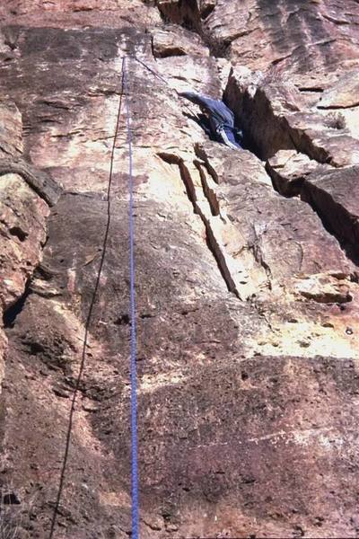Erik Marr climbing Kalahari Sidewinder.  One of the shorter routes on the wall.