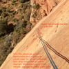 On a single 70, the second rap point was not visible under a small roof. I had to keep descending until 4-5 feet from the end of the 70m BD rope. The visible rap point climbers left is beyond the reach of a 70m, but don't worry it's not that one.