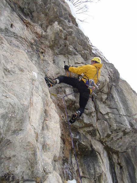 Entering the M7 crux on an trad ice route on the West side.