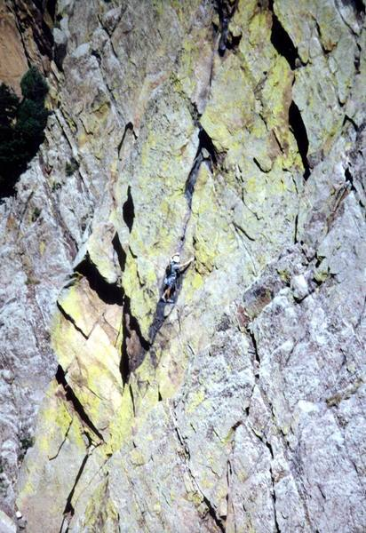 A climber starting P4 crack as seen from high on Tower One.