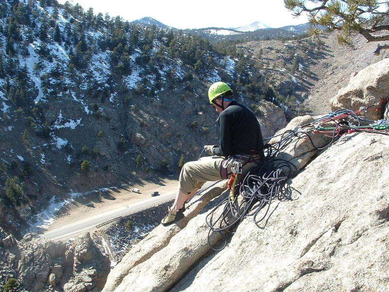 Bruce Immele belaying at the top of the disappearing crack (East Slab)