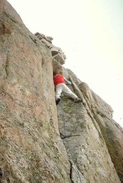 Tom Gries on the summit pitch of Warhead (FA).