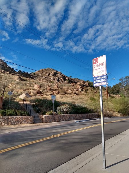Absolutely no parking anywhere across the street, Mount Rubidoux