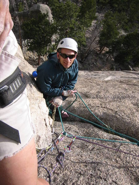 The belay above the crux.