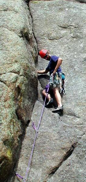 A pic of me about to plug in a pink tricam about 20' or so up on Route 166.