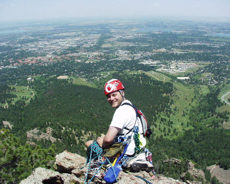Nice view from the summit.  James after final belay.