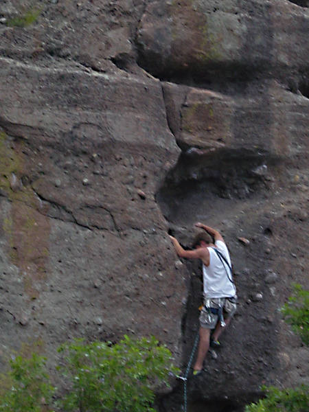 At the crux, trusting those feet, my second lead.