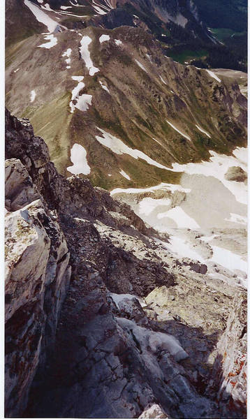 View down the Northwest Buttress of Capitol Peak