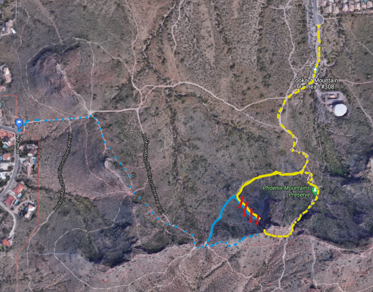 BLUE is about 16 min, long with mellow up hill .5 mi    Yellow is shorter direct upwards hike .3 mi   (you can walk all the way up and rappel down DOTTED OR go up the steep loose rock trail marker in red SOLID LINE) At your own risk