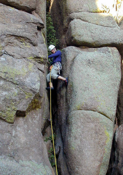 Tom grunting his way up the chimney section of Rawhide.