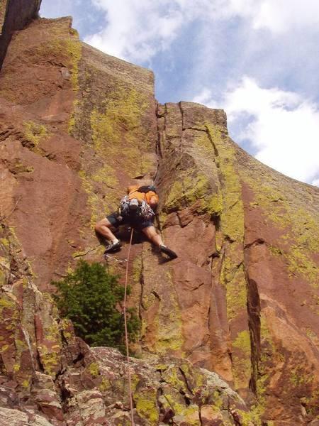 Last Crux Move up the steep crack on Chianti