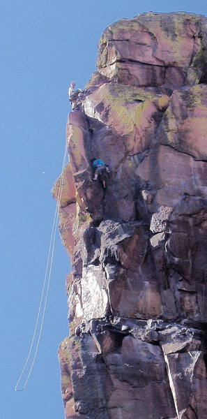 Unknown climbers on the fifth pitch.
