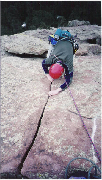 The best finger crack in the Flatirons, if it continued for another 100ft.