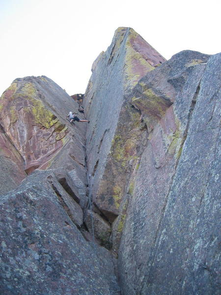 """Clint about half way up the route, where the """"5.9 variation"""" splits off."""