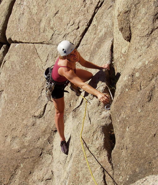 Marga Powell on the hand traverse on the first pitch.