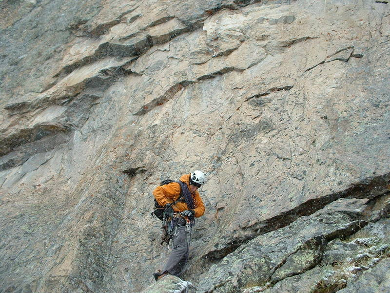 Kevin leading an icy route