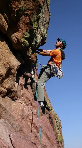 Ron Olsen at the crux layback on the last pitch.