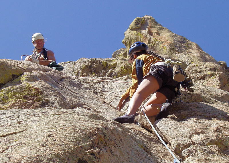Yvonne D'Andrea nearing the crux of the third pitch.  Mike Borkowski is belaying.