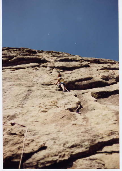 Lost in a sea of overhangs and arches.  Typical McGregor climbing, midway on the first pitch of Overhang.