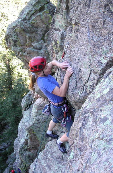 Christa Cline with a good edge at one of the crux moves.