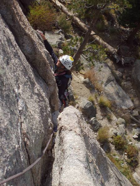 Fran on the diagonal traverse near the top of pitch one.
