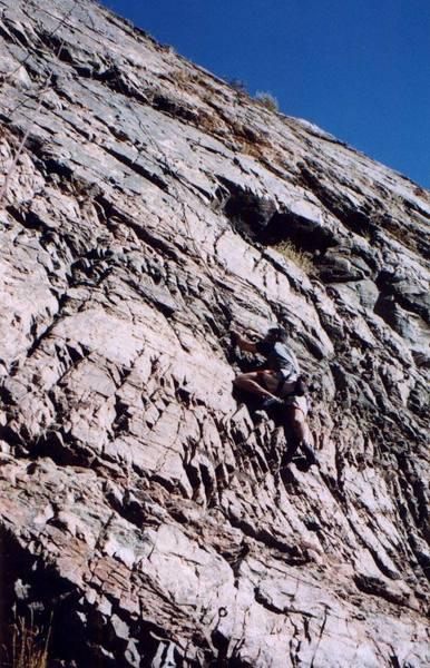 Jeff Gunter just starting to climb.