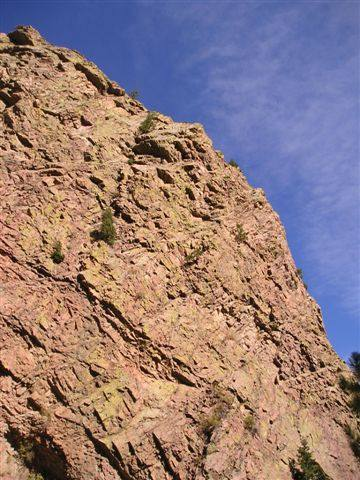The Rotwand Route from the base of the crag.
