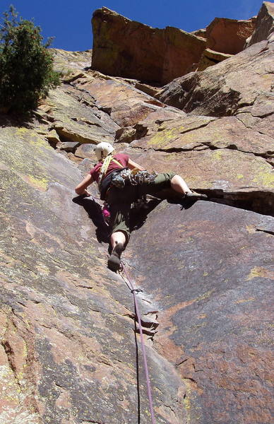 Irina Overeem at the crux of the first pitch.  The fun isn't over until Irina is standing on the ledge by her left hand.