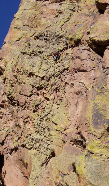 Roger Poage on the pocketed wall of Body Tremors.  Photo taken from the top of lower Ruper.