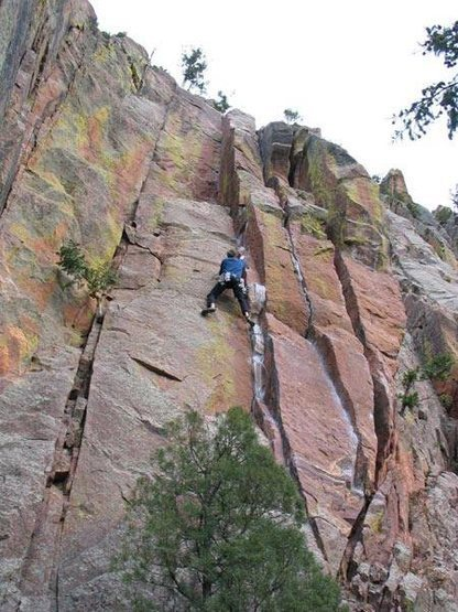 Photo by Kris Thompson<br> <br> Just after the hardest single crux, but with <br> some tricky climbing and pro still to go. This <br> photo shows almost the entire route, bottom <br> to top.