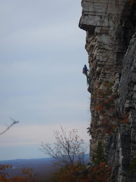 Hanging belay at the top of pitch 2