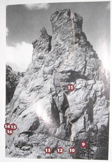 Great topo of the route. Shows the entire army route read articles for belay stands and anchors