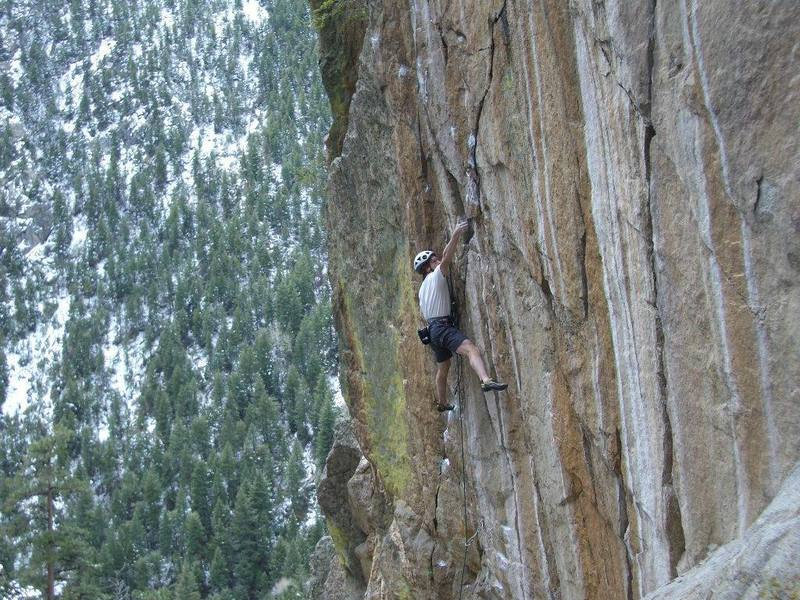 Approaching the crux on the Buzz.  Photo taken by Ted Lanzano.