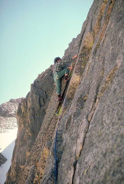 Third pitch of Kor's Door; Tom Gries on the FFA in 1974.