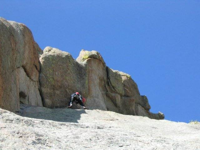 Luke leads the undercling on second (third from the ground) pitch. The 10a variation is the crack to left of climber.