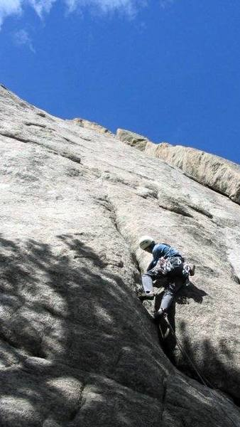 Moving right out of this crack is the P1 crux.