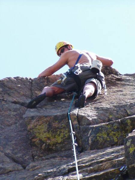 David K. above the crux on 5.8 crack Lookout Mountain Crag
