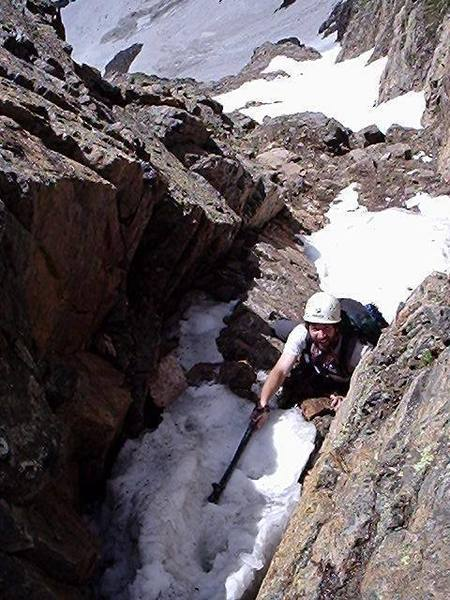 Climbing into the notch.