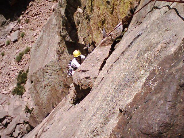 Ken starting the traverse of p1.