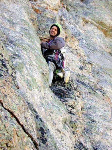 This is about 15 feet up the start of the twin 5.7 cracks of the crux pitch. Notice how deep the cleft containing the cracks appears to the belayer.<br> <br> Photo taken by Tracy Roach.