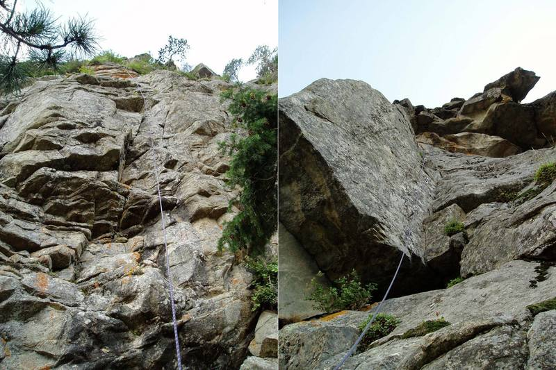 These are the best action shots I could get since I was self-belaying. P1 is on the left. The anchors are in the orange rock at the top of the photo. P3 is on the right. Orgasmatron underclings out the roof at the bottom left of the photo.