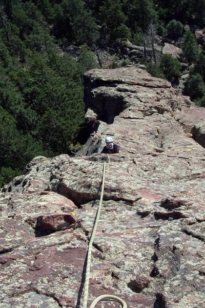 Coming up the East Face portion of the route.